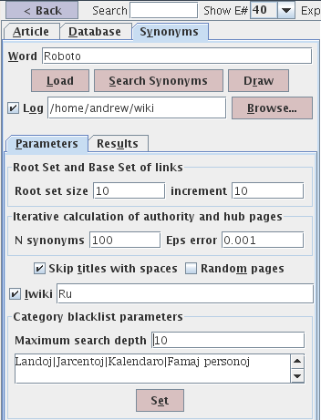 Synonym search parameters