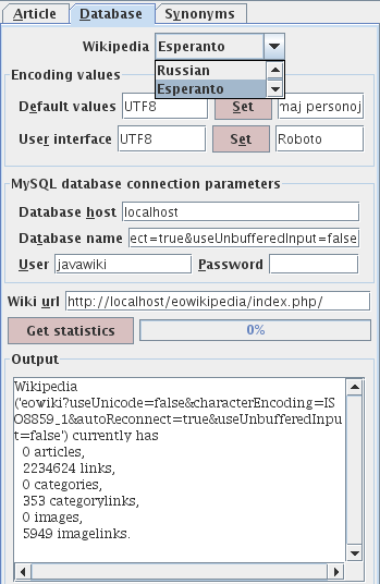Select Wikipedia database, assign parameters.